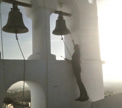 Playing the bells in Pyrgos, Santorini (Kinisi Festival 2015)