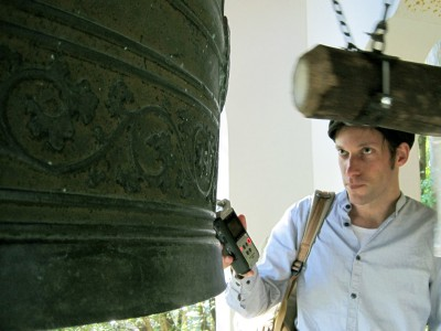Recording the bell in Kurama, Japan